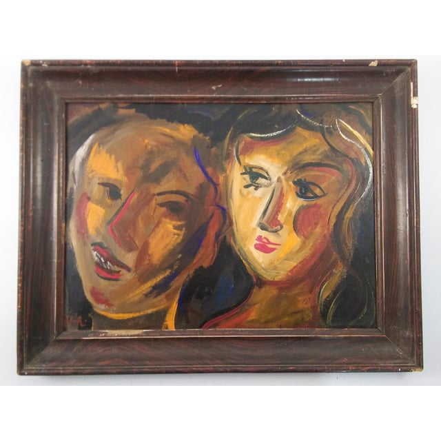 Wood Vintage Mid-Century Portrait of Two Females Painting For Sale - Image 7 of 7