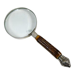 English Stag Horn + Sterling Silver Magnifying Glass For Sale