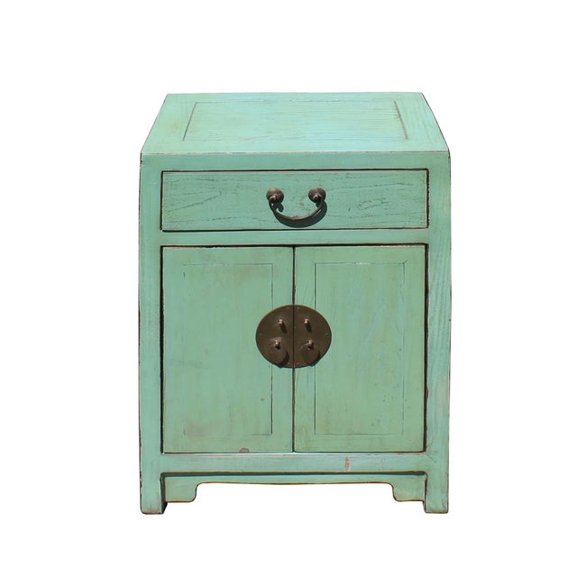 Oriental Distressed Light Teal Green Lacquer Side End Table Nightstand For Sale - Image 4 of 6