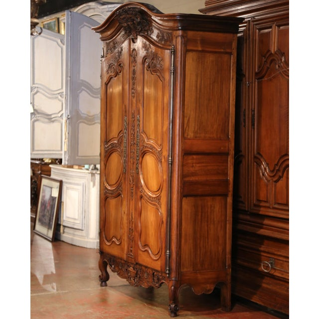 Brown Exceptional 18th Century French Carved Walnut Wedding Armoire from Provence For Sale - Image 8 of 11