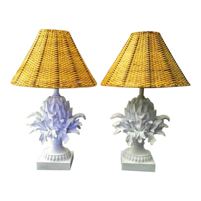 A Pair Palm Beach Regency White Peeled Pineapple Table Lamps W/ Wicker Shades For Sale