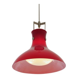 Studio Venini Red Pendant, Murano Italy 1950s For Sale