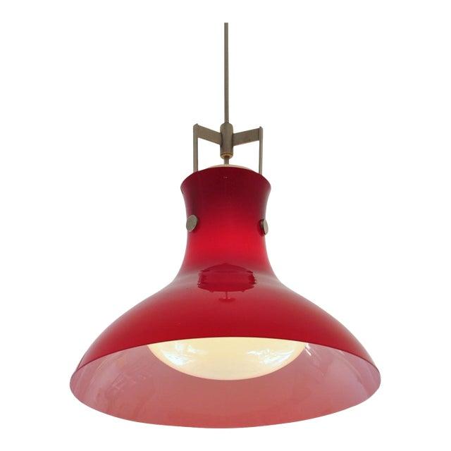 Studio Venini Red Pendant, Murano Italy 1950s For Sale