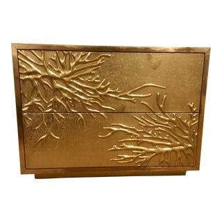 Global Views Modern Brass Flower Burst Cabinet For Sale
