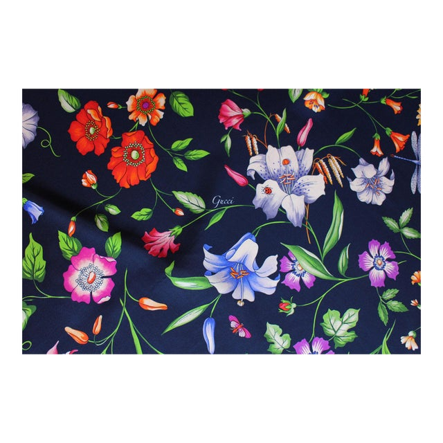 Hollywood Regency Gucci Navy Floral Silk Fabric For Sale - Image 3 of 13