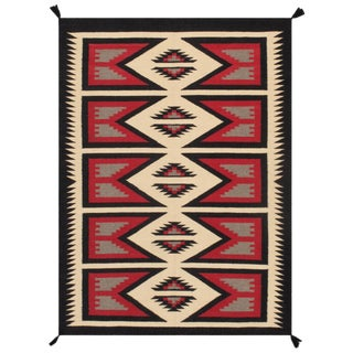 Contemporary Navajo Style Wool Area Rug - 4′3″ × 5′10″ For Sale