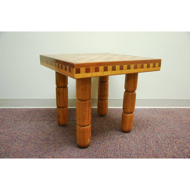Yellow Postmodern Oak and Walnut Inlay End Table, Circa 1980 For Sale - Image 8 of 11