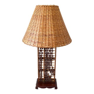 Vintage Mid-Century Chinese Rosewood Abacus Lamp Original Fittings For Sale