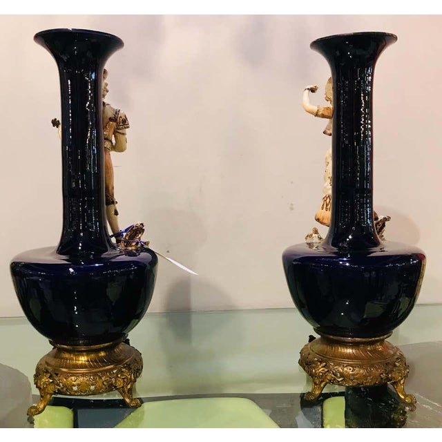 Figurative Two Large Porcelain French 19th-20th Century Figurative Vases or Male & Female For Sale - Image 3 of 13