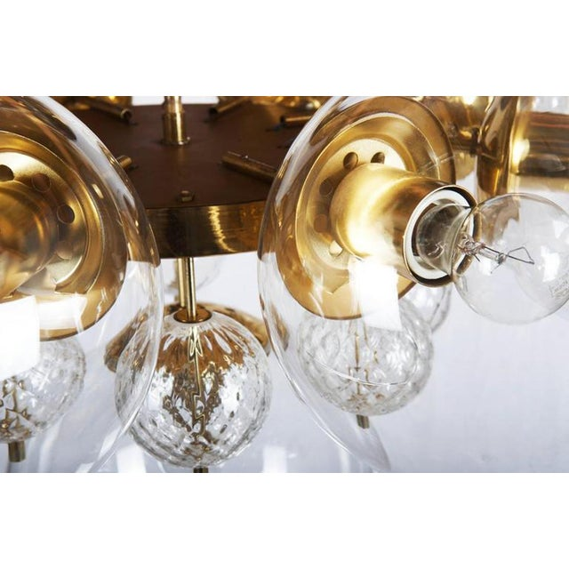 Brass Large Brass Chandelier with Crystal Balls by Kamenicky Senov, 1960s For Sale - Image 7 of 9