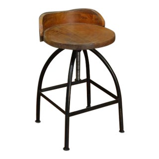 Crafters and Weavers Ashland Low-Back Adjustable Height Bar Stool For Sale