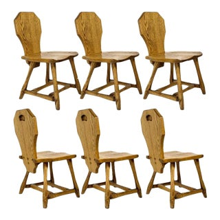 6 Rustic Utilitarian Carved Solid Oak Craftsman Dining Chairs W Graining For Sale