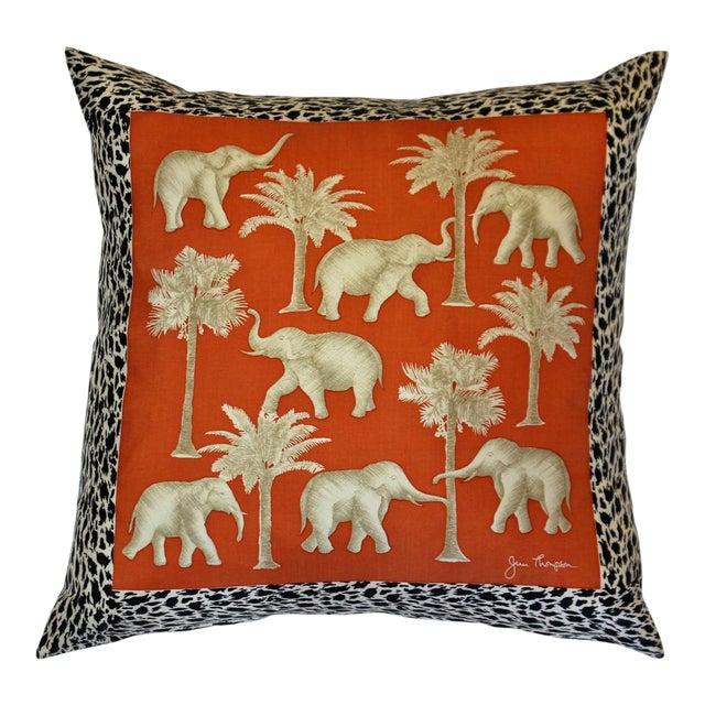 Jim Thompson Orange Thai Elephant Pillow For Sale