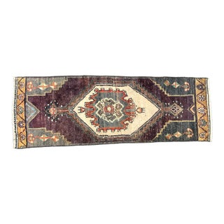 Vintage Traditional Turkish Handmade Red and Beige Small Rug For Sale