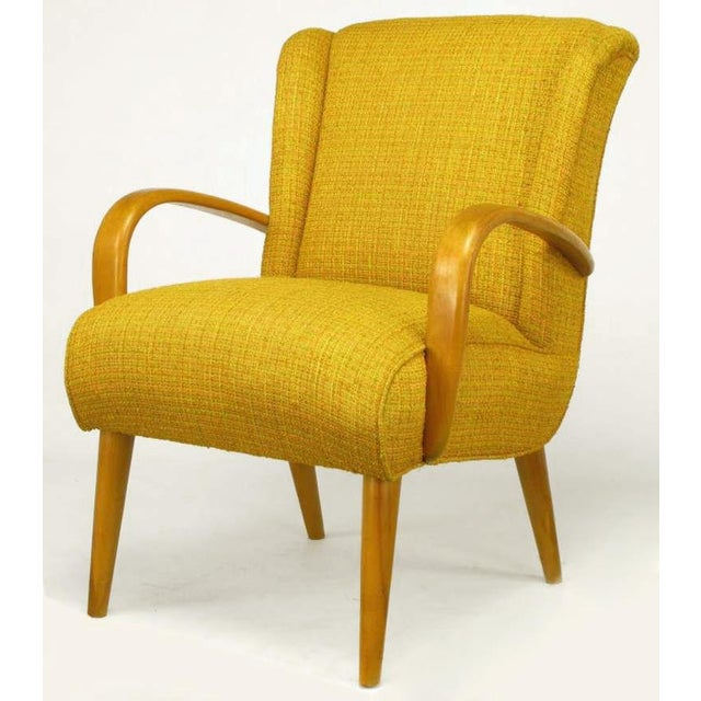 Circa 1940s Maple Wood & Saffron Upholstered Lounge Chair - Image 7 of 10
