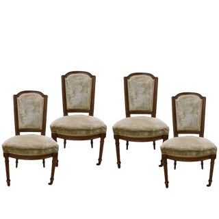 19th Century Walnut Louis XVI Style Chairs - Set of 4 For Sale