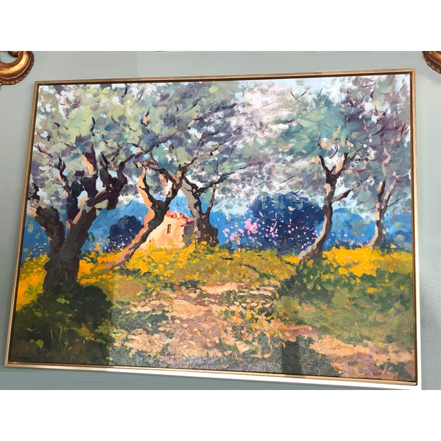A recent original hand-scrape landscape painting by Tuscan artist Agostino Veroni. This painting is a beautiful work of...