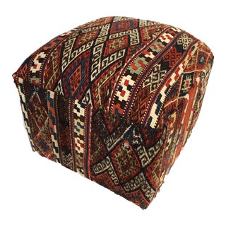 "LG Ottoman Upholstered w/19th c. Tribal Azeri Kilim 18"" H"