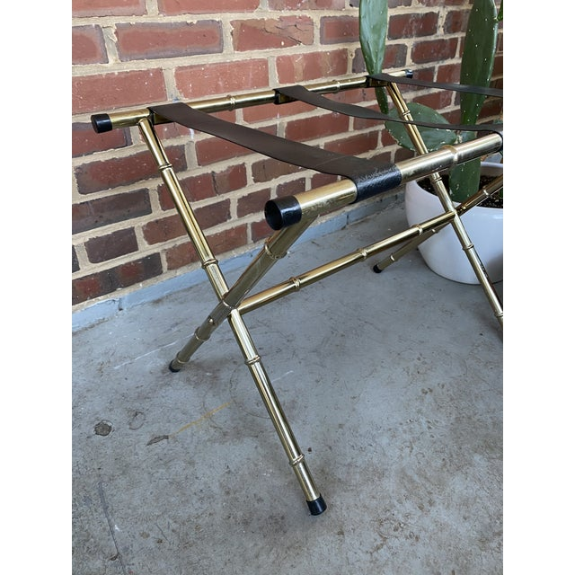 1970s 1970s Mid-Century Faux Bamboo Brass Luggage Rack. For Sale - Image 5 of 11