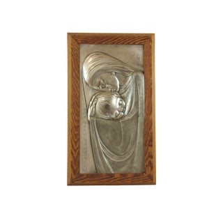 Vintage Mid Century Mother and Child Metal Bas Relief Repousse Wall Art For Sale