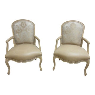 Vintage Louis XV Custom Leather Italian Carved Fireside Lounge Club Chairs - a Pair