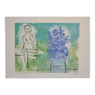 """Arthur Krakower """"Seated Woman With Flowers"""" Original Monotype C.2004 For Sale"""