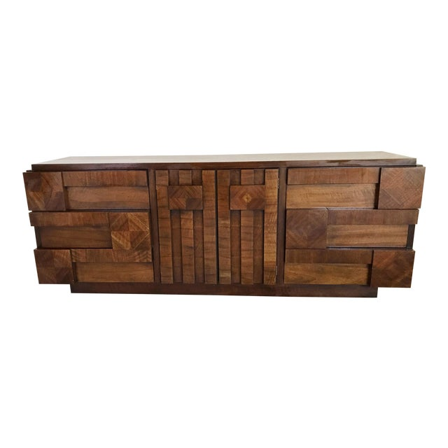 1970s Brutalist Lane 9-Drawer Dresser Credenza For Sale