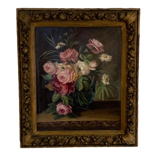 19th Century Framed Oil Painting of Flowers For Sale