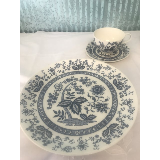 Ceramic Blue Onion Hand Painted Dinnerware - Service for 3 For Sale - Image 7 of 10