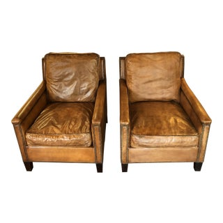 French Style Leather Chairs With Nailhead Trim - a Pair For Sale