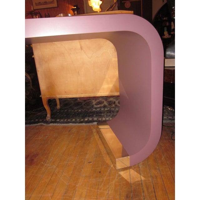 Karl Springer Vintage Postmodern Lavender Mauve Pink-Purple Waterfall Console Table For Sale - Image 4 of 11