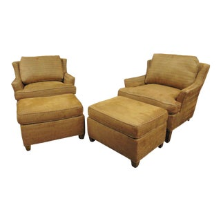 Jessica Charles Modern Design Gold Club Chairs & Ottomans - 4 Piece Set For Sale