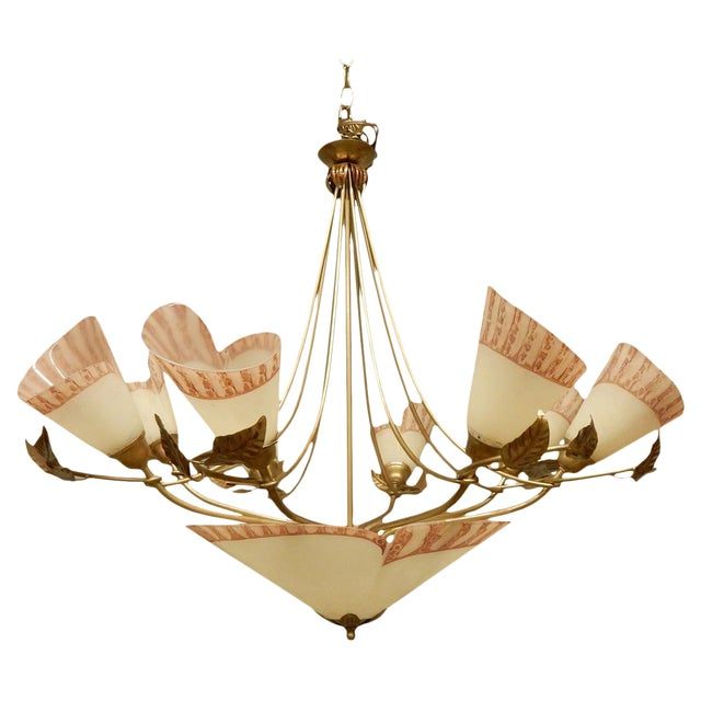 Vintage 1950's French Eight Light Chandelier For Sale