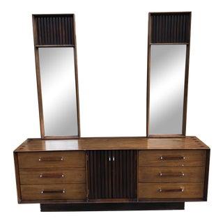 1960s Vintage Mid Century Lane Brutalist Dresser With Mirror For Sale