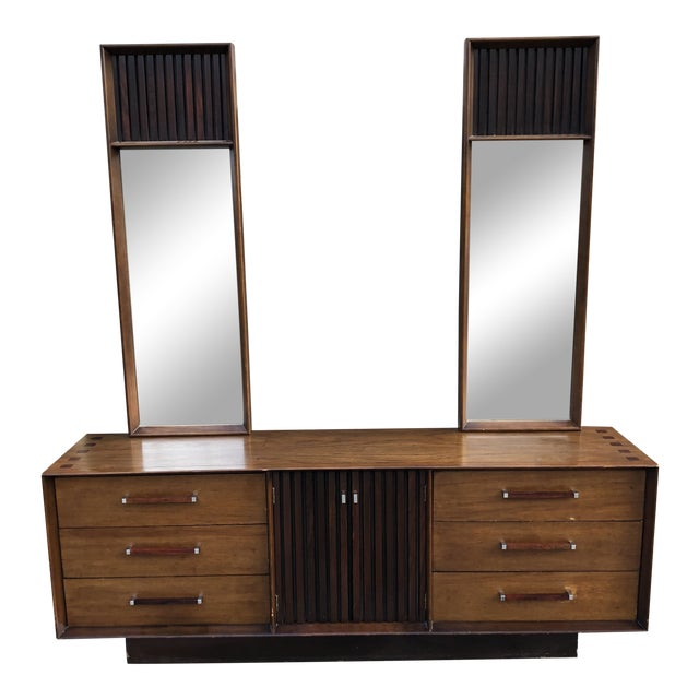 1960s Vintage Mid Century Lane Brutalist Dresser With Mirror For Sale