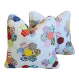 Image of American Patchwork Quilt Feather/Down Pillows For Sale