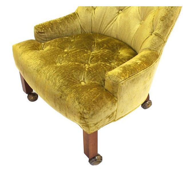 Pair of Gold Tufted Velvet Upholstery Vintage Barrel Back Slipper Lounge Chairs For Sale In New York - Image 6 of 8