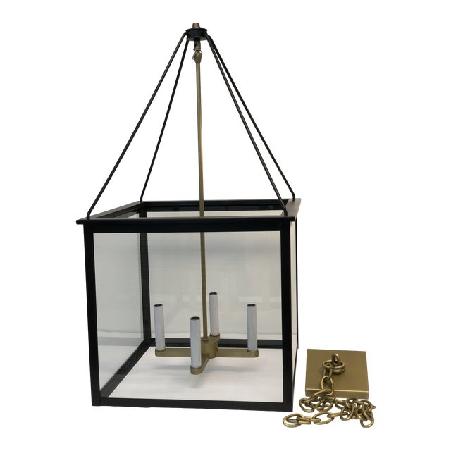 Classic Modern Lantern in Brushed Brass and Black Finish For Sale