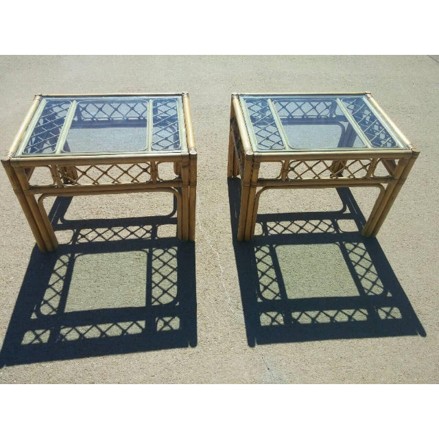 Mid Century Faux Bamboo Tables - Pair - Image 2 of 4