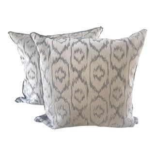 Nina Campbell Velvet White Ikat Pillows - A Pair For Sale