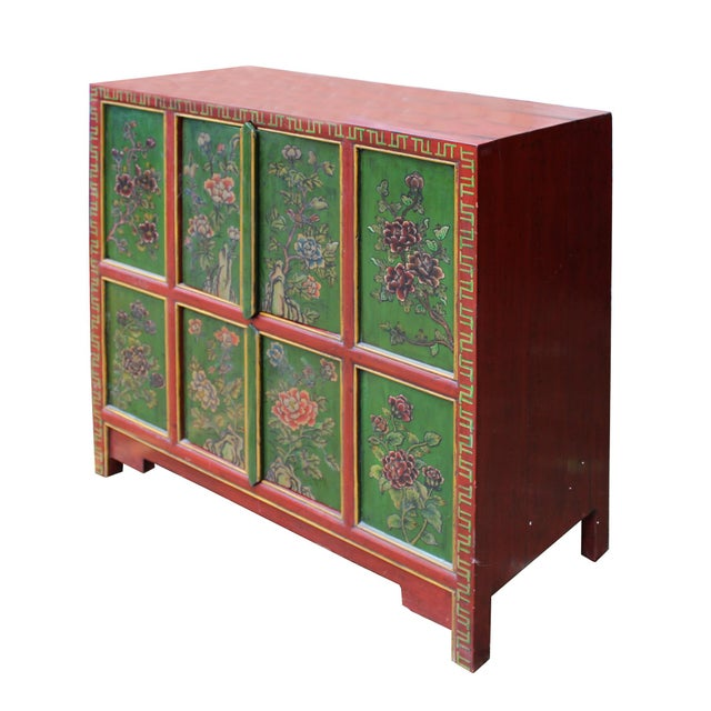 Chinese Red Green Floral Graphic Credenza Storage Cabinet For Sale In San Francisco - Image 6 of 9