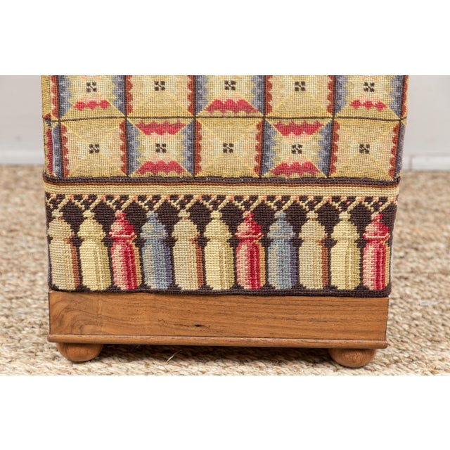 English Traditional Vintage Needlepoint Foot Stool For Sale - Image 3 of 8