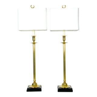 Pair of Solid Brass European Candlestick Lamps For Sale