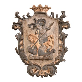 Early 20th Century French Carved Painted Wall Hanging Crest With Armored Soldier