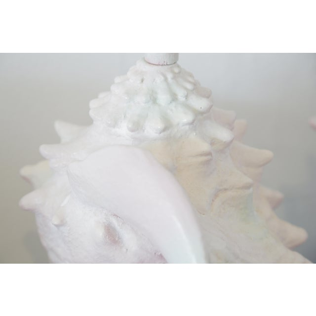 1970s Vintage Pair of Conch Shell Plaster Table Lamps For Sale - Image 5 of 8
