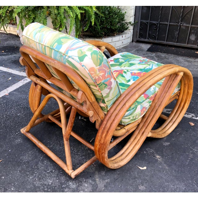 1950's Bent Rattan Adjustable Triple Banded Bamboo Lounge Chair For Sale - Image 4 of 7