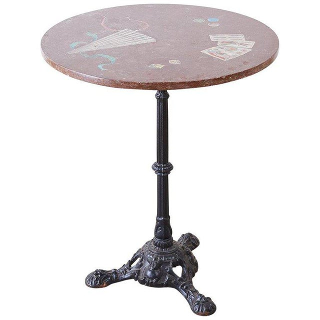 French Trompe l'Oeil Marble Granite Inset Bistro Table For Sale - Image 13 of 13