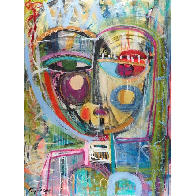 "Blue ""Honey"" Original Mixed Media Artwork by Lesley Grainger For Sale - Image 8 of 8"
