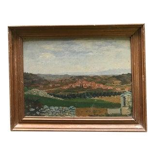 Vintage French Hilltop Landscape Painting