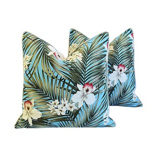 "Summer Teal Tropical Orchid & Palm Feather/Down Pillows 24"" Square - Pair For Sale"